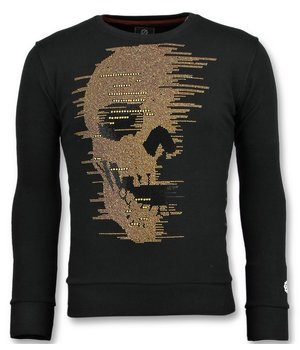 Local Fanatic Skull Glitter - Men Nice Sweater - Black
