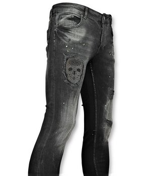 Addict Black Skinny Jeans - Men's Patches Skull - Black