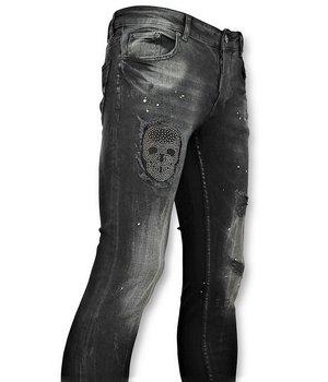 Addict Stone Skull Printed Men Jeans - Black