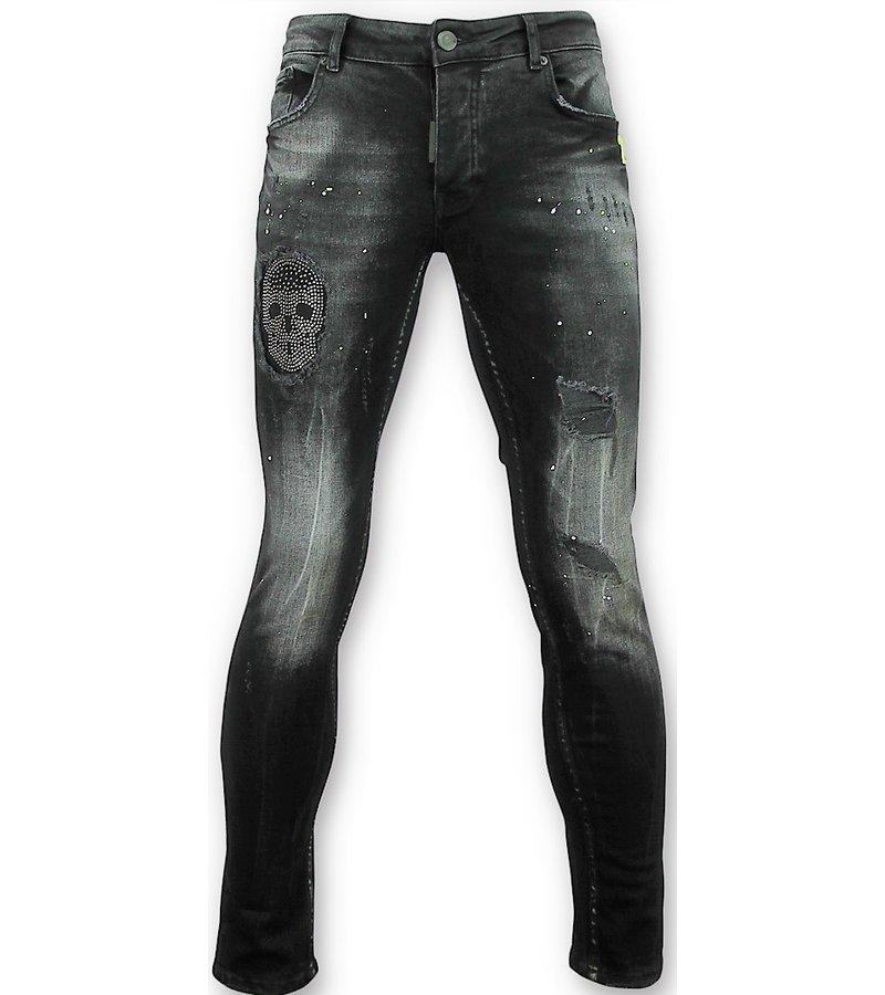 Addict Black Skinny Jeans - Men's Patches Skull - Black