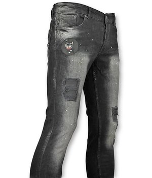 Addict Black Skinny Jeans - Men's Patches - Black