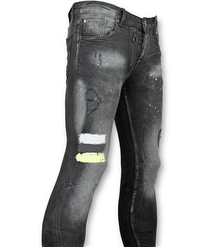 Addict Men Jeans - Jean With Paint Stains - Black