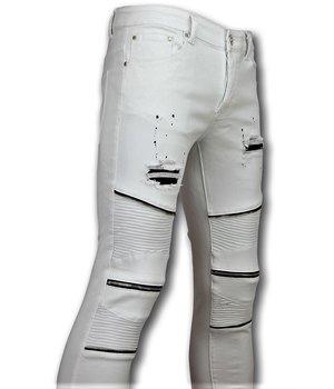 New Stone Biker Skinny Jeans Men - Men Pants - White