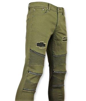 New Stone Green Biker Skinny Jeans Men - Men Pants - Green