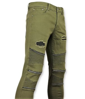 New Stone Men Biker Jeans Ripped Knie Zip - Green
