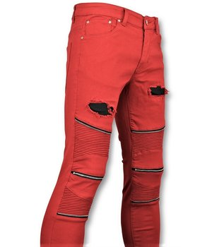 New Stone Men Biker Jeans Ripped Knie Zip - Red
