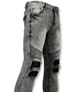 New Stone Men Biker Jeans Ripped Knie - Grey