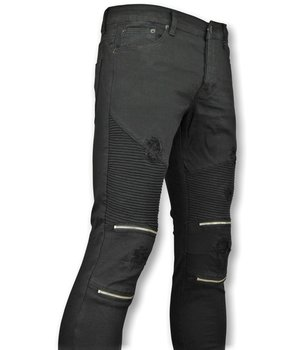 New Stone Ripped Biker Jeans Knie Zip - Black