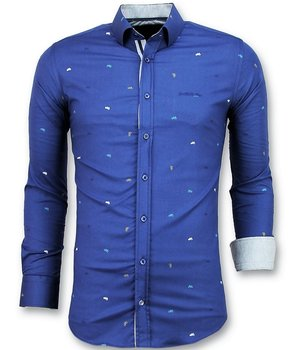 Gentile Bellini Men Slim Fit Shirts - Men Bicycle Blouse  - Blue