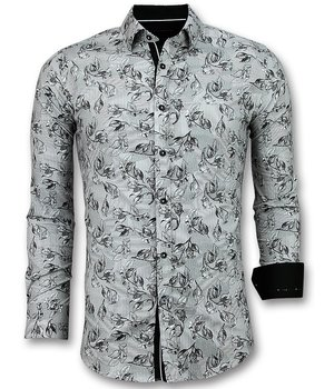 Gentile Bellini Flower Motif  Printed Men Shirts - White