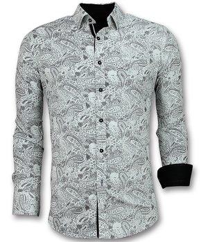 Gentile Bellini Men Shirts Italian - Blouse Paisley Print  - White