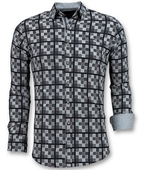 Gentile Bellini Men's Italian Shirts - Chess Motif Blouse  - Blue