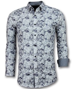 Gentile Bellini Exclusive Men's Shirt - Luxury Italian Paisley Blouse  - Blue