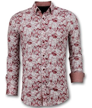 Gentile Bellini Exclusive Men's Shirt - Italian Paisley Blouse  - Red