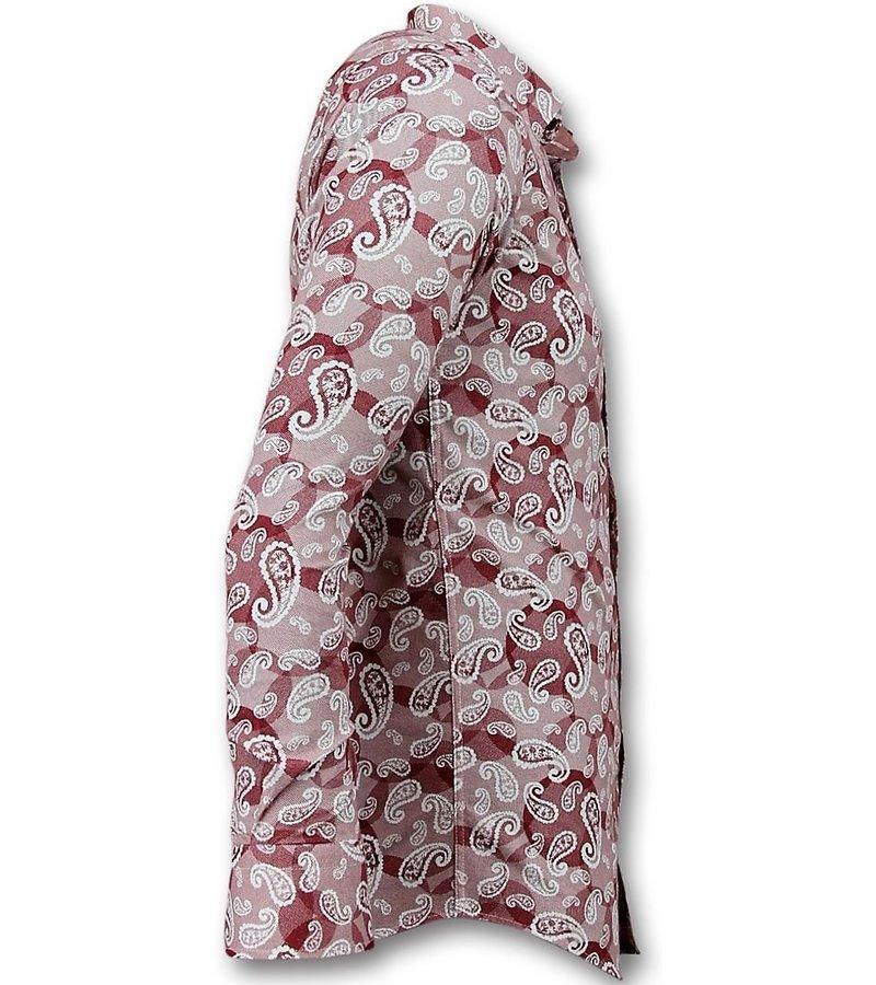 Gentile Bellini Exclusive Men's Shirt - Italian Paisley Blouse - Red
