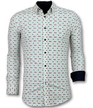Gentile Bellini Men Shirts Slim Fit - Tetris Motif Men Shirt - Beige