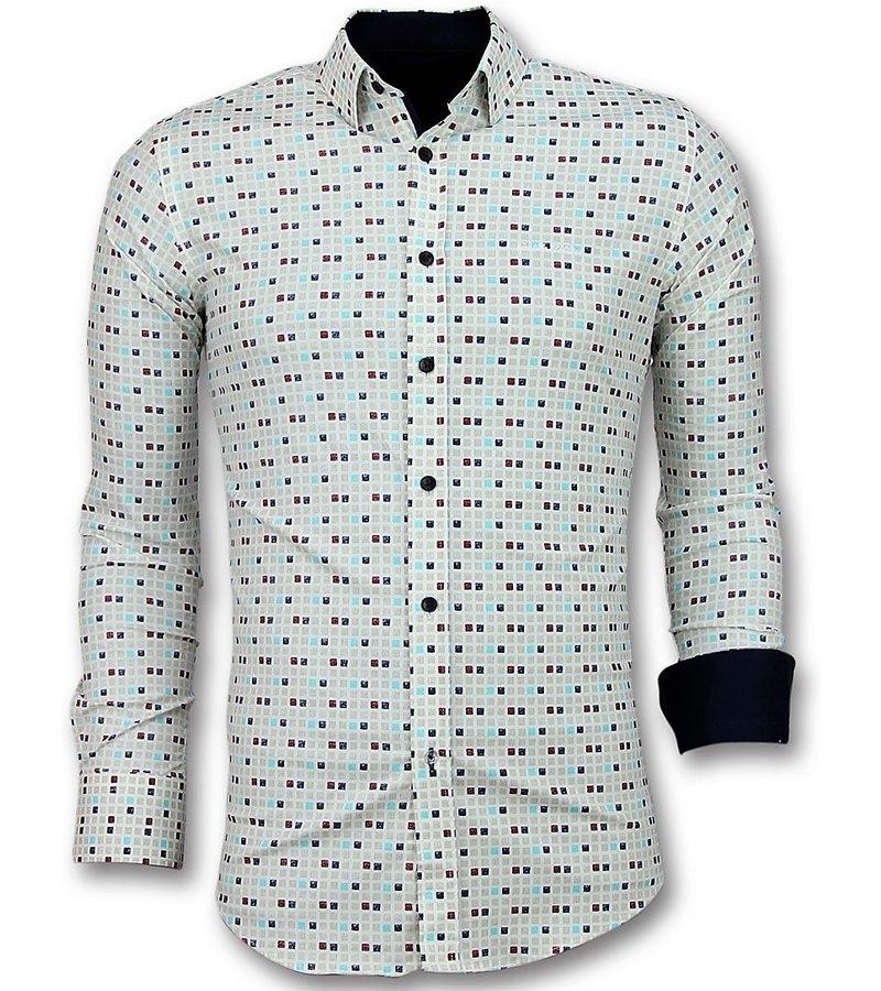 Gentile Bellini Men Shirts Slim Fit - Tetris Motif Men Shirt - Beige