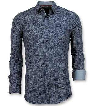 Gentile Bellini Slim Fit Shirt Men - Grunge Texture Men - Navy