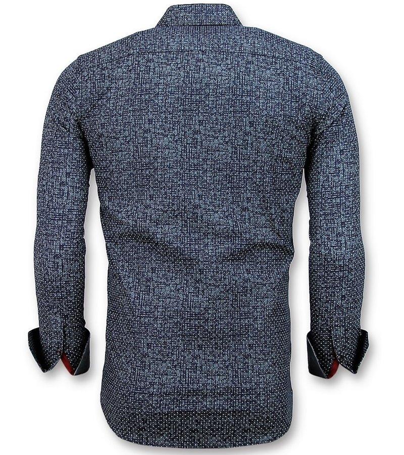 Gentile Bellini Slim Fit Shirt Men - Grunge Texture Men  - Navy