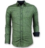 Gentile Bellini Men's Shirt Plantprint - Slim Fit Blouse Men  - Green