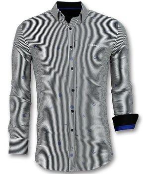 Gentile Bellini Italian Blouse Men - Shirt with Stripes  - White