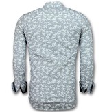Gentile Bellini Men's Italian Blouse - Shirt with Floral Pattern  - White