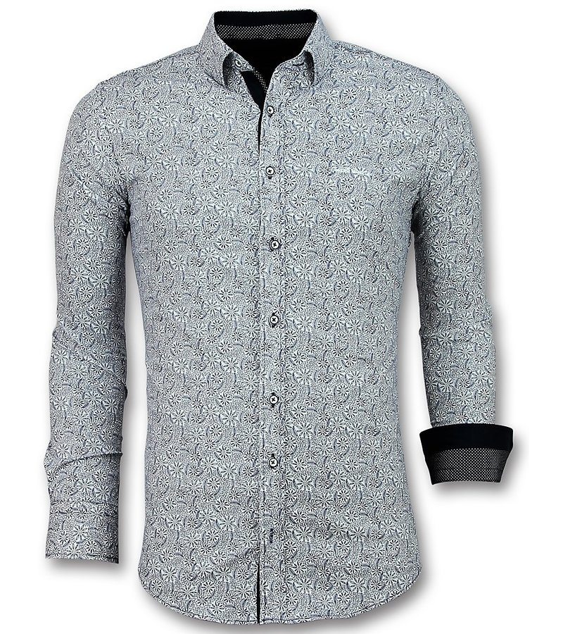 Gentile Bellini Italian Shirts - Slim Fit Blouse Flower Garden - White