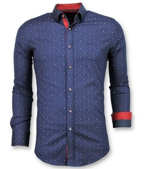 Gentile Bellini Italian Shirt Men - Slim Fit French Lily Blouse  - Blue