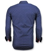 Gentile Bellini Italian Shirt Men - Slim Fit French Lily Blouse - Blue