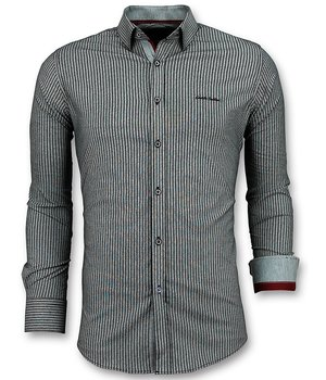 Gentile Bellini Men's Business Shirts - Stripes Blouse  - Blue