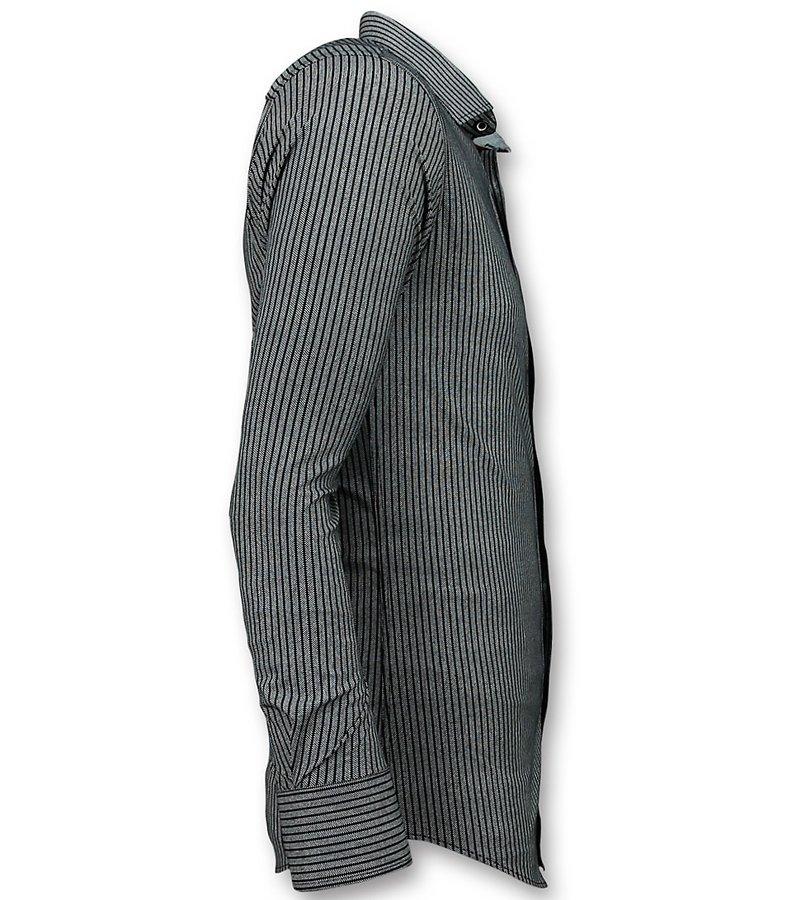 Gentile Bellini Men's Business Shirts - Stripes Blouse  - Blue