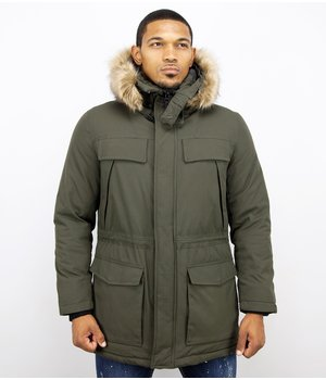 Enos Men Long Winter Coat Parka - Green