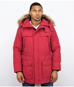 Enos Men Long Winter Coat Parka - Red