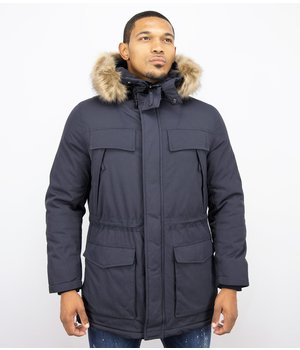 Enos Parka With Many Pockets - Men Long  Winter Jacket - Blue