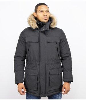 Enos Men Long Winter Coat Parka - Black
