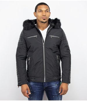 Enos Cool Winter Coat - Men Jacket With Fur Collar - Black