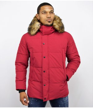 Enos Winter Men Jacket - Jacket with Faux Fur Collar - Red