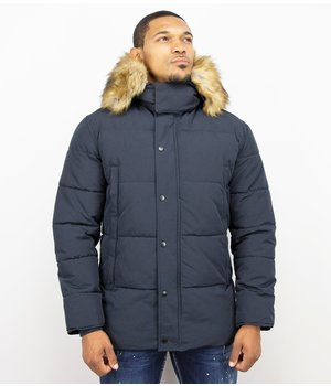 Enos Winter Jacket Men - Jacket with Faux Fur Collar - Blue