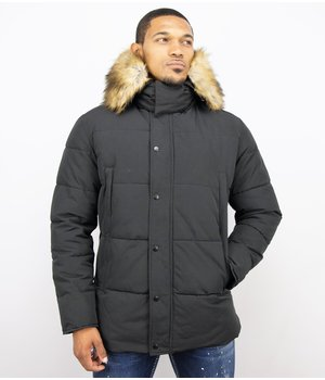 Enos Men's Winter Jacket - Jacket with Faux Fur Collar - Black