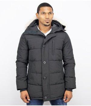 Just Key Parka Long Men Winter Coat - Black