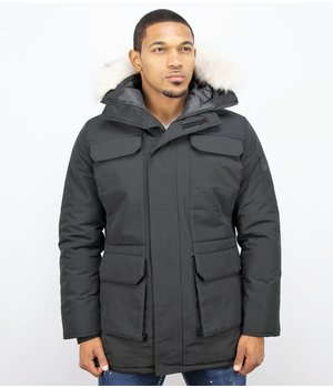 Just Key Men's Winter Parka Fur Coat - Black