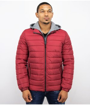 Enos Men Padded Jacket With Hood - Red
