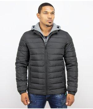 Enos Men Padded Jacket With Hood - Black