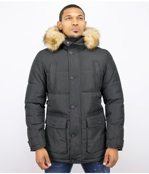 Enos Men's Winter Jackets With Hood - Black