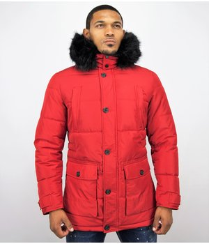 Enos Men's Winter Jackets With Hood - Red