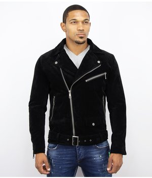 Warren Webber Suede Biker Jacket Men - Fake Leather Jacket - Black