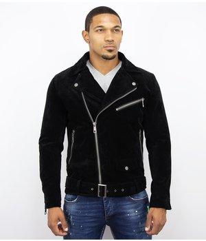 Warren Webber Suede Leather Men Biker Jacket - Black