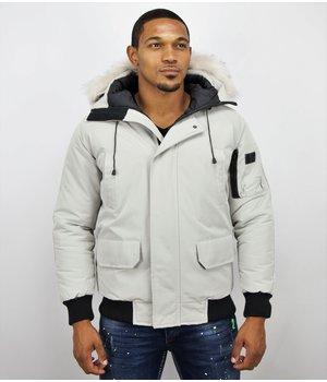 Just Key Canada Short Winter Coat Faux Fur - White
