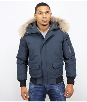 Enos Short Winter Jacket Men - Jacket Fur Collar Canada - Blue