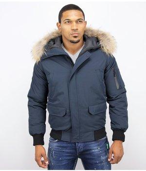 Enos Short Winter Jacket Real Fur Collar - Blue